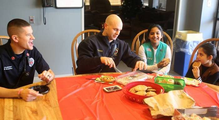 Muslim Girl Scouts Bring Christmas Breakfast to NapervilleFirefighters