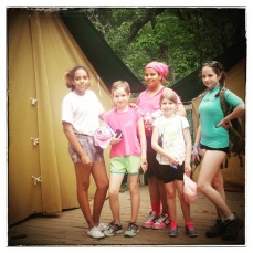 young phoebe with troop at camp river trails